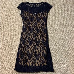 Dress - Blue Lace with tan underlay